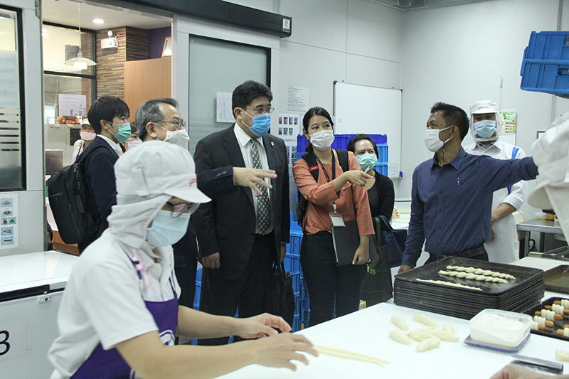 Tour of bakery production area at the Human Resource Development Center (HRD) by APCD